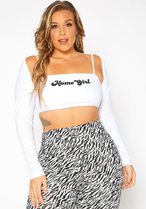 Asoph Plus Size Home Girl Statement Crop Top & Shrug Cardigan Set