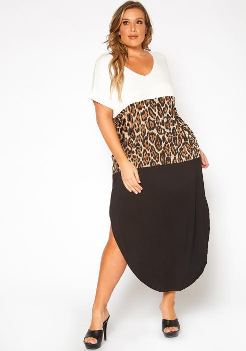 Asoph Plus Size Color Block Curved Hem Maxi Dress