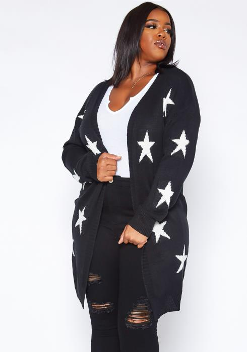 Asoph Plus Size Star Pattern Long Knit Cardigan