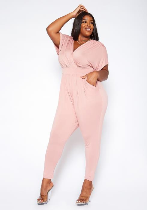 Asoph Plus Size Dolman Sleeve Classy Jumpsuit