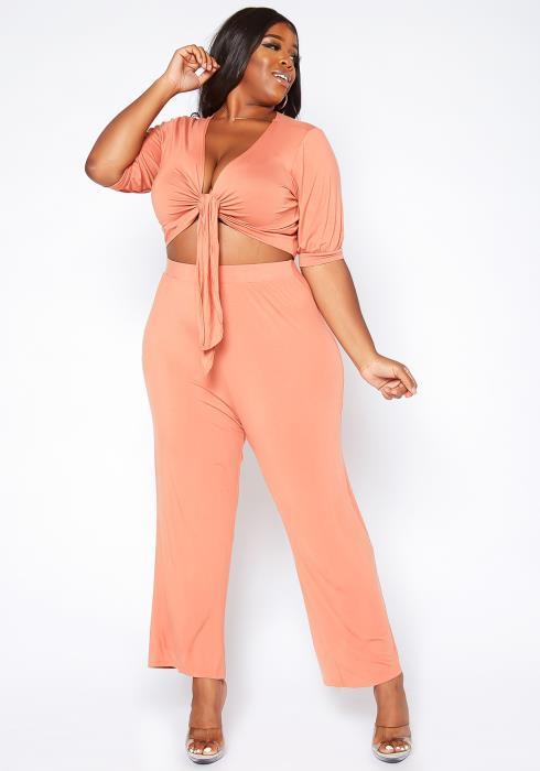 Asoph Plus Size Peach Wrap Crop Top & Pants Set