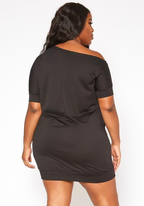 Asoph Plus Size One Shouldered Lounge Mini Dress