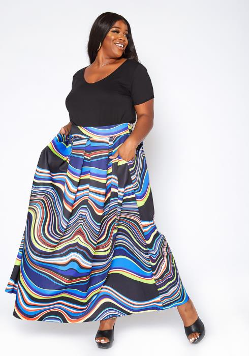 Asoph Plus Size Water Color Print Maxi Flare Skirt