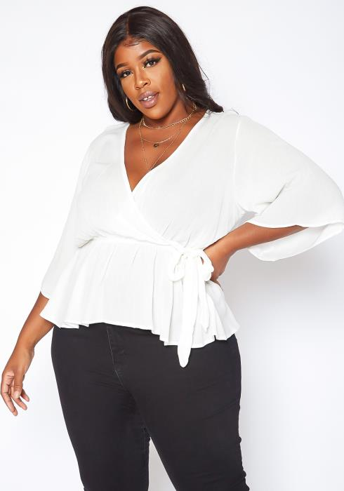 Asoph Plus Size Angel Sleeve Peplum Top