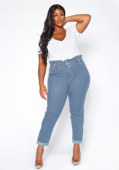 Asoph Plus Size Pin Striped Paperbag Waist Jeans