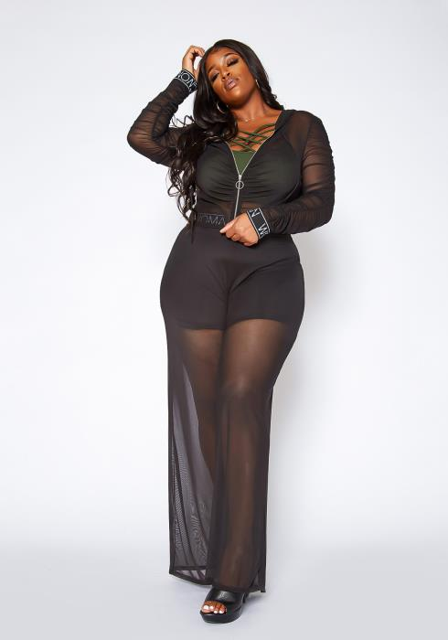 Asoph Plus Size Mesh Hooded Sweater & Pants Cover Up Set