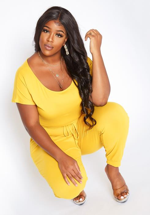 Asoph Plus Size Lounge Or Never Scoop Neck Jumpsuit