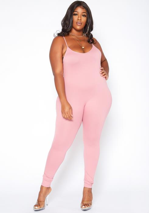 Asoph Plus Size Basic Cami Bodycon Jumpsuit