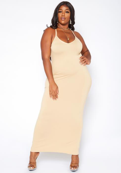 Asoph Plus Size Basic Bodycon Cami Maxi Dress
