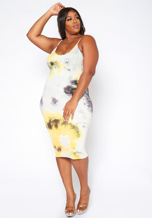 Asoph Plus Size Tie Dye Bodycon Midi Dress