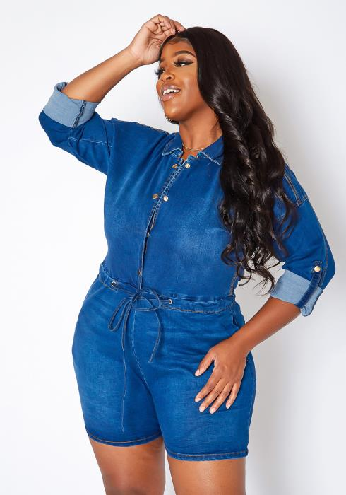Asoph Plus Size Back Chain Detail Denim Romper