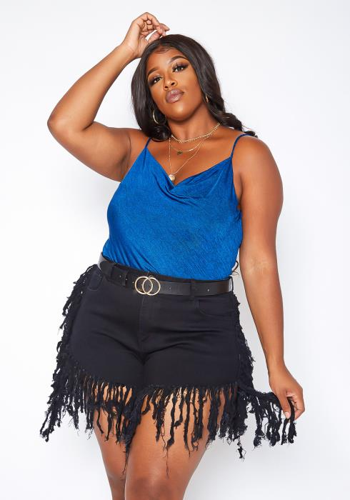 Asoph Plus Size Fringe Distressed Denim Shorts