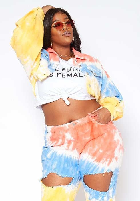 Asoph Plus Size Tie Dye Distressed Crop Denim Jacket