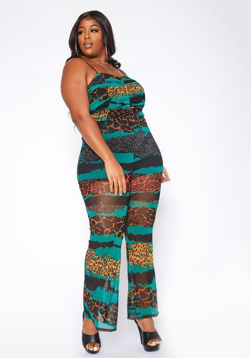 Asoph Plus Size Wild Instinct Mesh Cami Jumpsuit