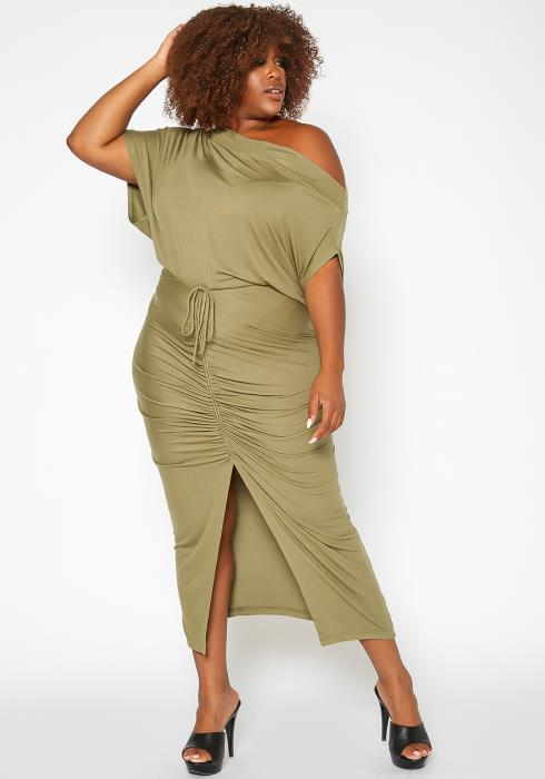 Asoph Plus Size Centered Drawstring Hem Maxi Skirt