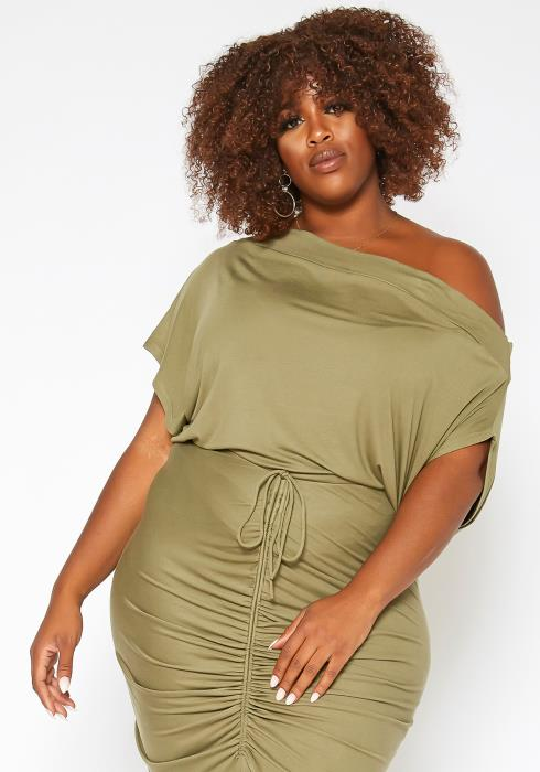 Asoph Plus Size One Sided Cold Shoulder Dolman Sleeve Blouse