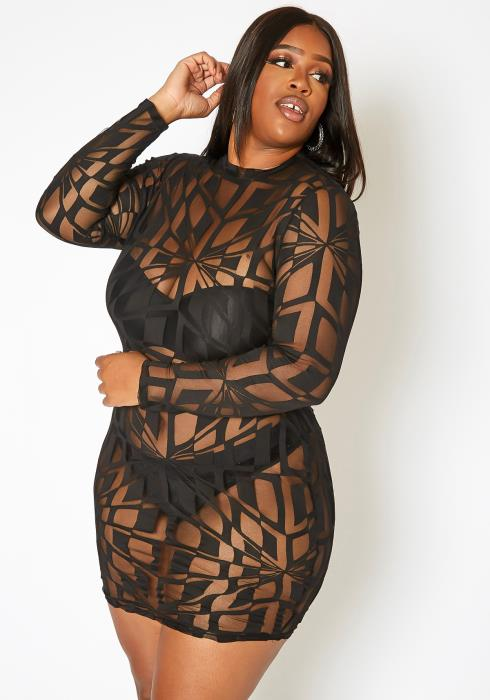 Asoph Plus Size Patterned Mesh Bodycon Mini Dress