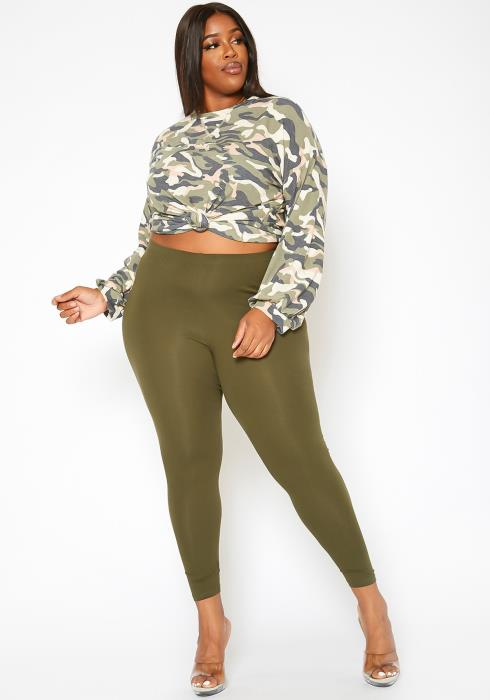 Asoph Plus Size Casual High Waist Leggings