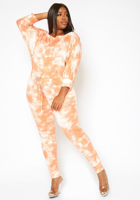 Asoph Plus Size Orange Tie Dye Lounge Jumpsuit