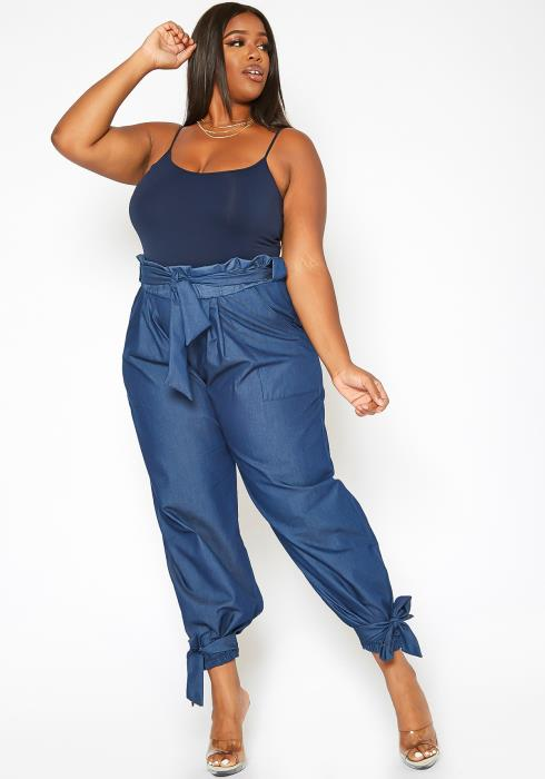 Asoph Plus Size Knot Basic Paperbag Waist Hem Pants