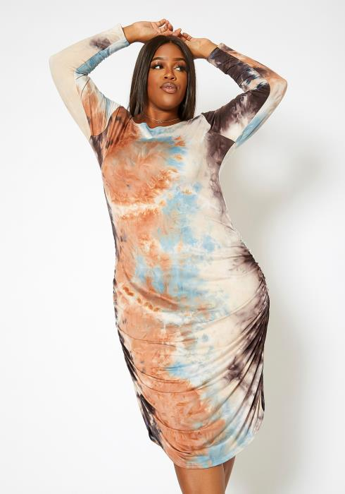 Asoph Plus Size Tie Dye Ruched Long Sleeve Bodycon Midi Dress