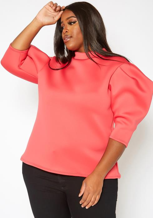 Asoph Plus Size Mock Neck Puffy Sleeve Top