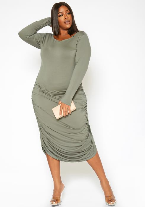 Asoph Plus Size Ruched Long Sleeve Bodycon Midi Dress