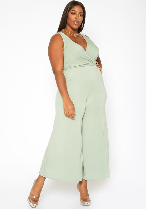 Asoph Plus Size Sleeveless Flare Leg Jumpsuit