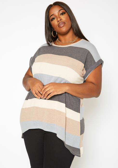 Asoph Plus Size Multi Striped High Low T Shirt