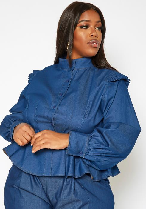 Asoph Plus Size Button Front Denim Peplum Top