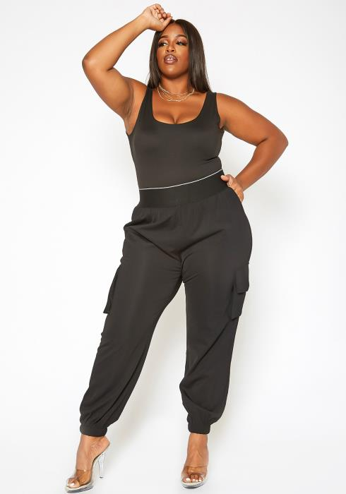 Asoph Plus Size Thick Banded Cargo Pants