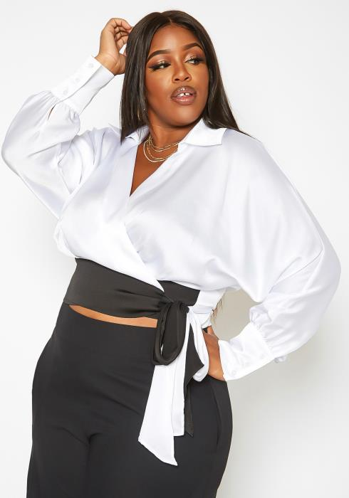 Asoph Plus Size Collar Neck Satin Wrap Blouse