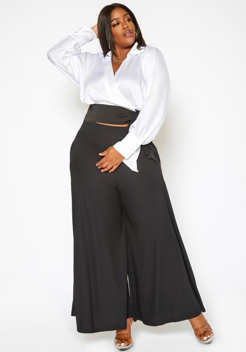Asoph Plus Size Wide Flare Leg Hem Pants