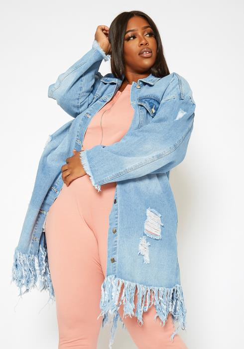 Asoph Plus Size Light Denim Distressed Longline Jacket