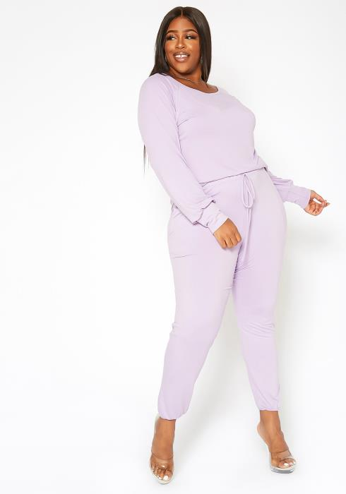 Asoph Plus Size Just Lounging Sweater Top & Pants Set
