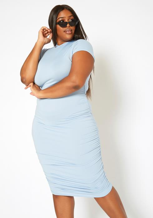 Asoph Plus Size Ruched Mock Neck Bodycon Midi Dress