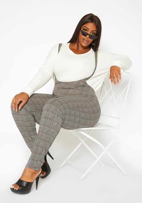 Asoph Plus Size Plaid Overall Pants