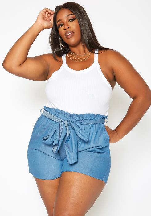 Asoph Plus Size Paperbag Waist Hem Shorts