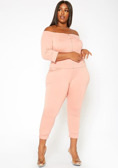 Asoph Plus Size Lounge & About Off Shoulder Top & Pants Set