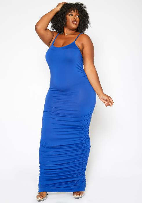 Asoph Plus Size Never Basic Ruched Bodycon Maxi Dress