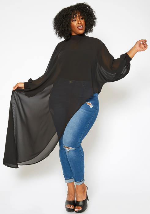 Asoph Plus Size Asymmetric High Low Chiffon Blouse