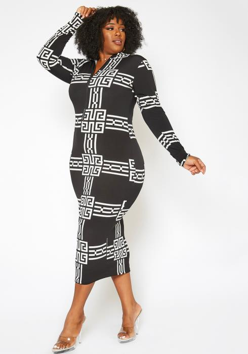 Asoph Plus Size Greek Key Pattern Bodycon Maxi Dress