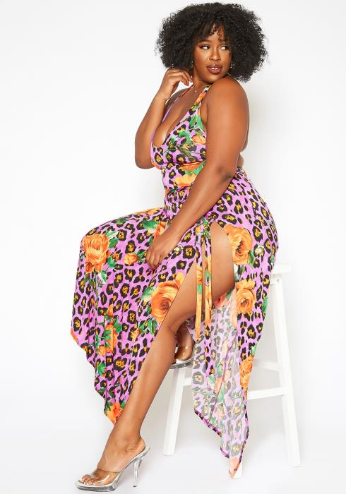 Asoph Plus Size Wild Love Two Piece Set