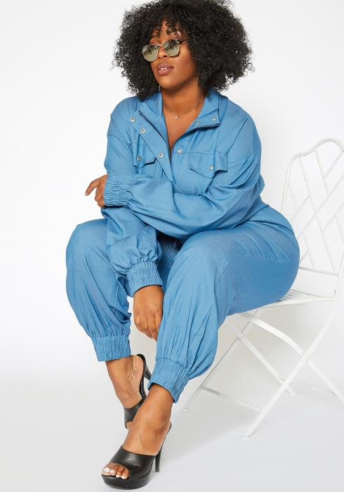 Asoph Plus Size Snap Button Hem Denim Jumpsuit