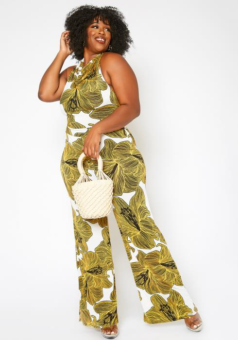 Asoph Plus Size Tropical Floral Print Cowl Neck Jumpsuit