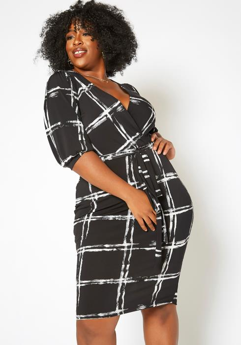 Asoph Plus Size Grid Plaid Bodycon Mini Dress