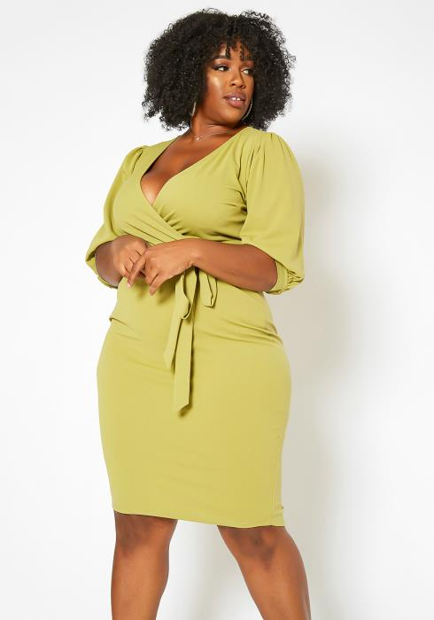 Asoph Plus Size V Neck Wrap Bodycon Mini Dress