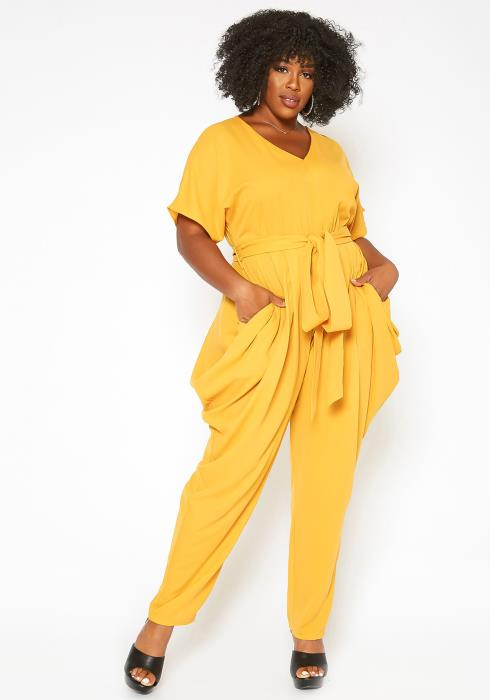 Asoph Plus Size Elegant Harem Draped Jumpsuit