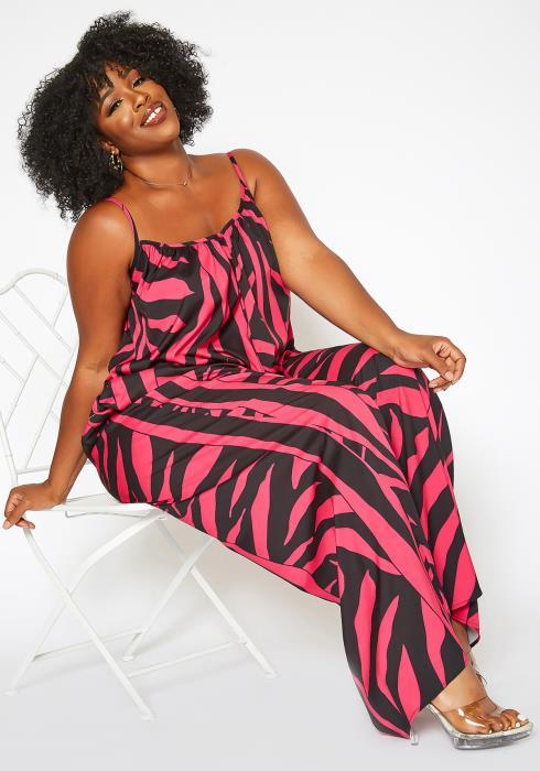 Asoph Plus Size Hot Pink Zebra Print Cami Jumpsuit