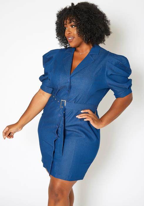 Asoph Plus Size Notch Collar Belted Denim Mini Dress